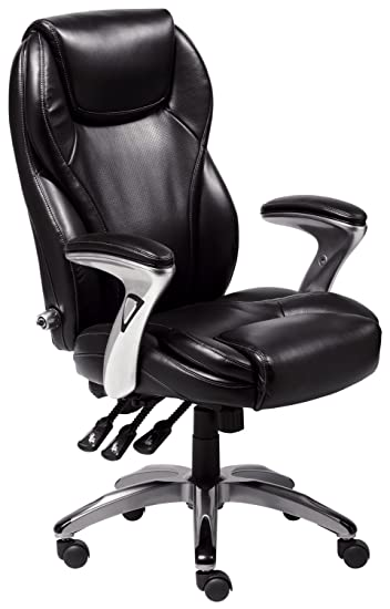 Exceptional Serta Bonded Leather Executive Chair, Multi Paddle, Black