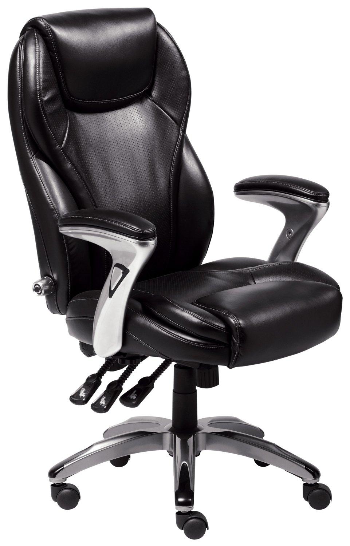 Serta Bonded Leather Executive Chair, Multi-Paddle, Black