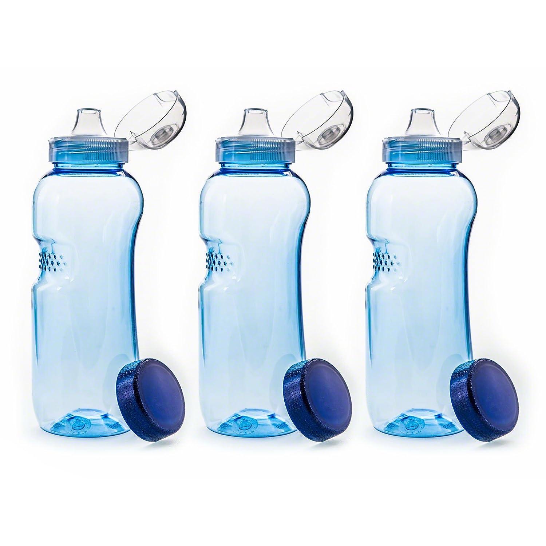 3 x 0,5 L botella de agua de Tritan sin BPA + 3 x con Tapa con boquilla Flip Top Greiner
