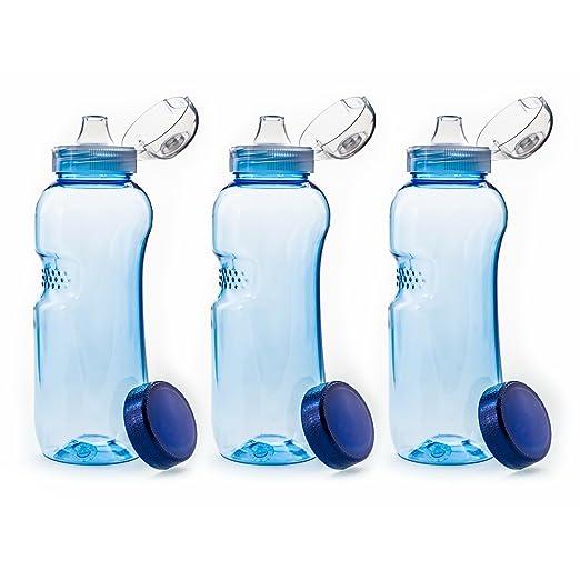 Botella de agua de Tritan. Sin BPA con tapa abatible, 3 botellas de 0,5 l: Amazon.es: Hogar