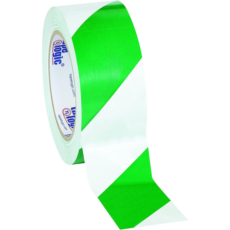Aviditi T92363PKGW Heavy Duty Striped Vinyl Safety Tape, 36 yds Length x 2 Width, 7 mil Thick, Green/White (Case of 3) by Aviditi  B00DY9VWGA