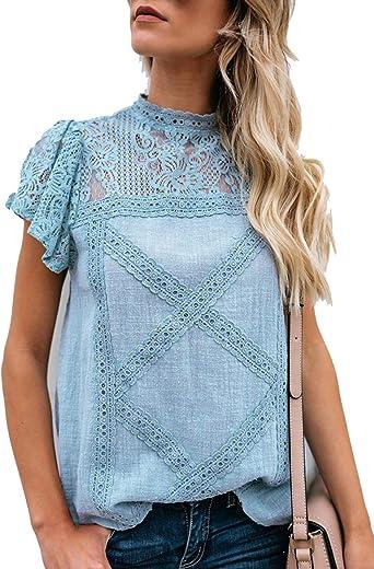 Camiseta De Mujer Tops De Encaje Blusa De Ganchillo De Manga Corta Casual Camisa De Algodón: Amazon.es: Ropa y accesorios