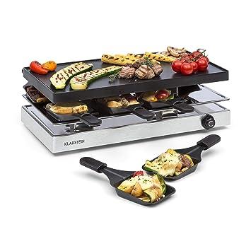 Klarstein Gourmette Raclette con Plancha de Aluminio • Raclette-Barbacoa • Fiestas de Barbacoa •