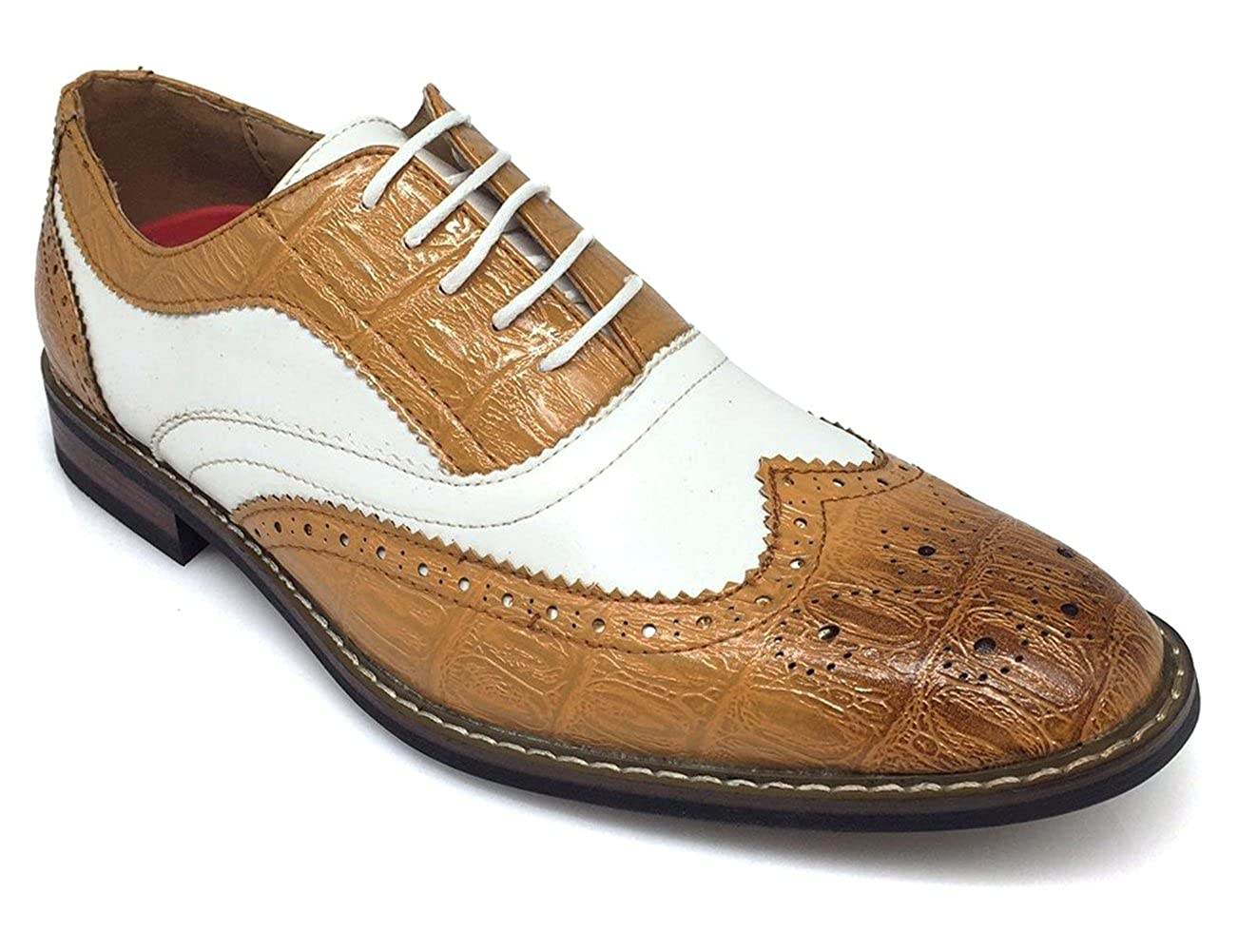 AC3D Mens Oxfords Shoes Wing Tip Lace up Two-Tone Alligator Print Leather Lined Brogue Casual Dress