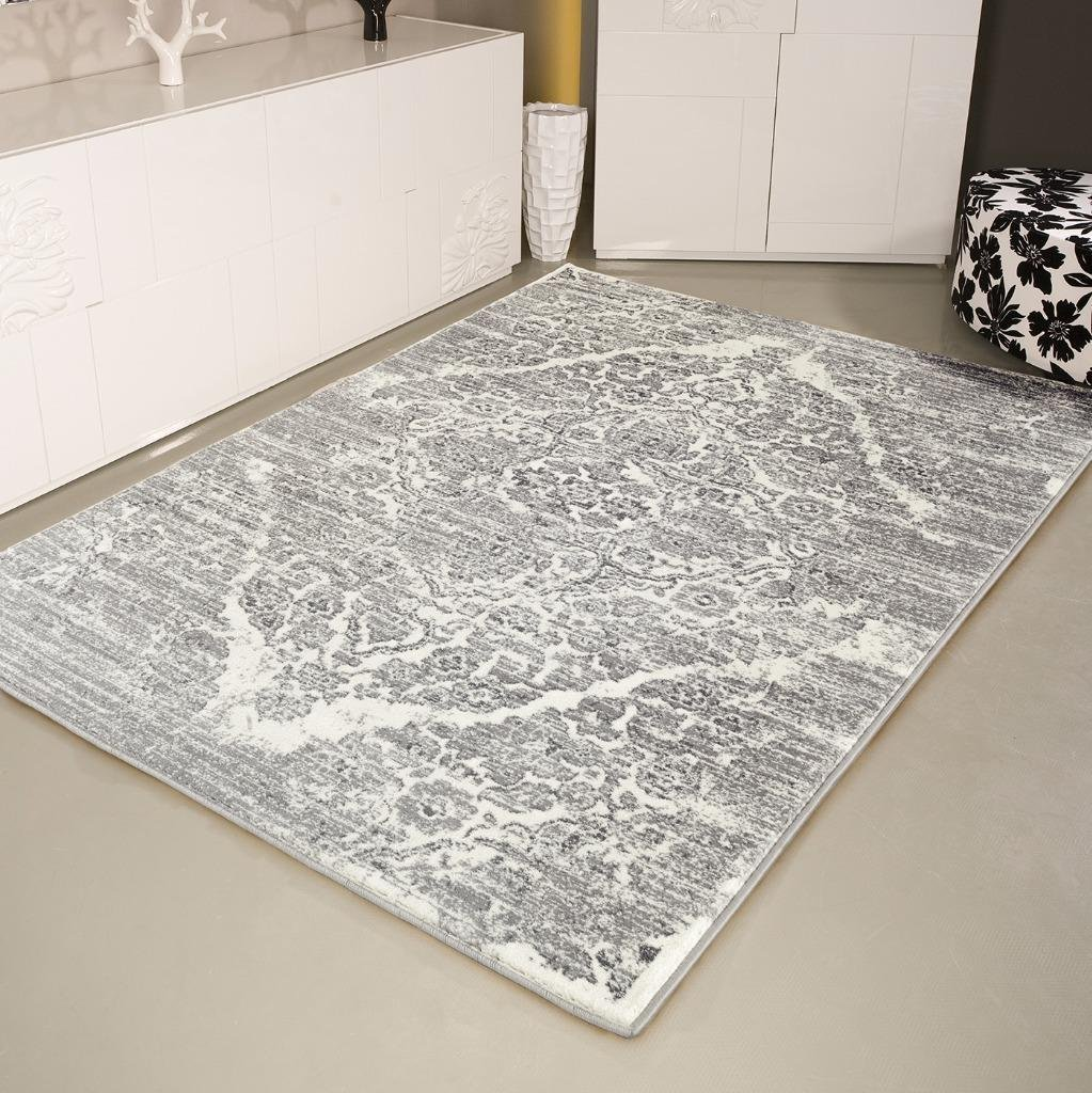 4620 Distressed Silver 5'2x7'2 Area Rug Carpet Large New