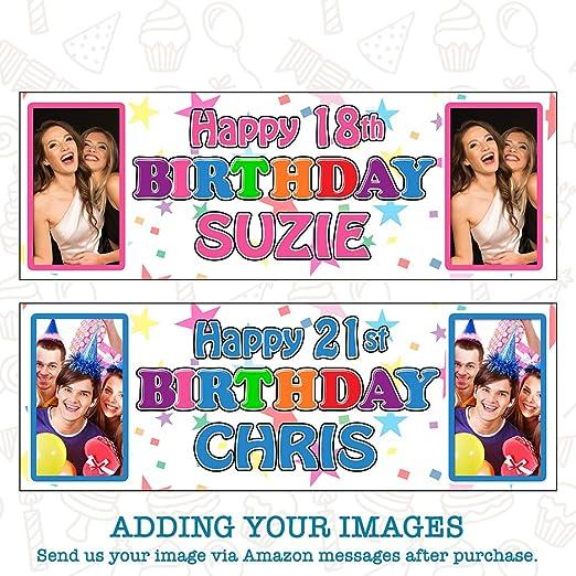 Kopek Pancarta de cumpleaños Personalizada con Foto – Pack de 2: Amazon.es: Hogar