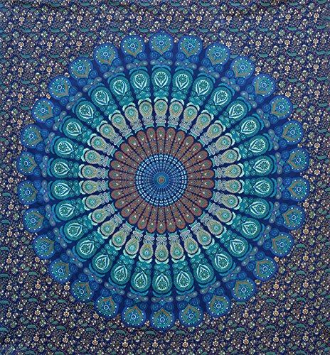 Large Blue Mandala Tapestry Wall Hanging ,Boho Tapestry Throw Hippie, Queen...