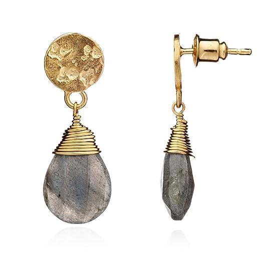Azuni London Gemstone Drop Earrings Grey OWY8rHfJ