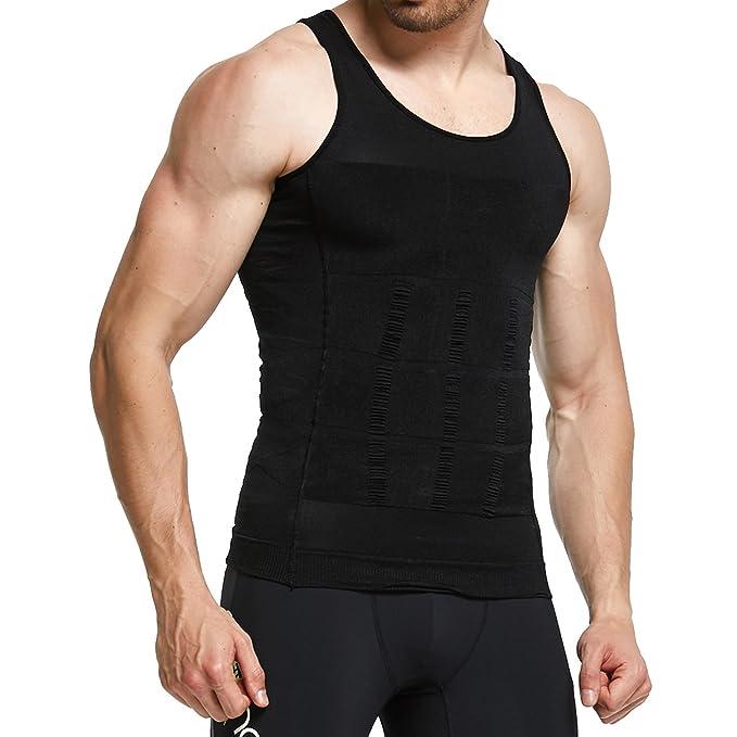 a00d310af3c1ac GKVK Mens Slimming Body Shaper Vest Shirt Abs Abdomen Slim at Amazon ...