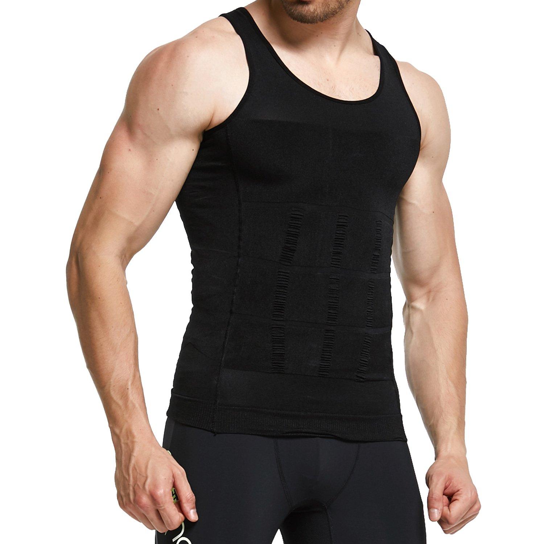 GKVK Mens Slimming Body Shaper Vest Shirt Abs Abdomen Slim,S(chest size76cm-81cm/30inches-32inches),Black