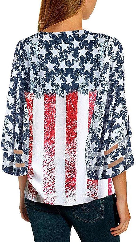Anna-Kaci Womens USA American Flag Patriotic V-Neck Button 3//4 Bell Sleeve Loose Blouse Shirt Top