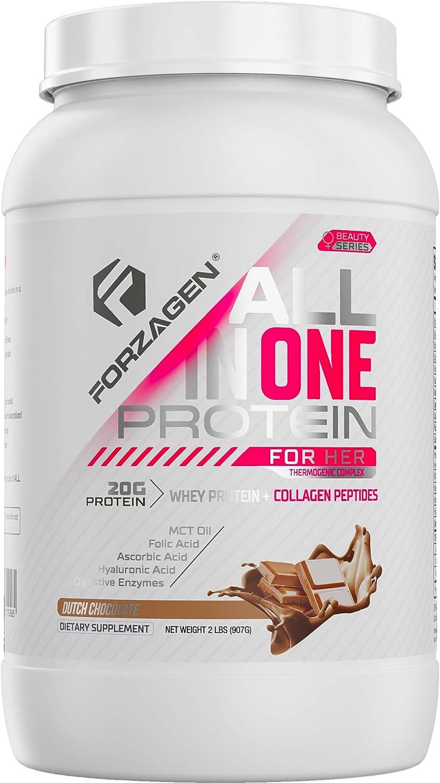 Forzagen Protein Powder for Women - Protein Shake With Collagen Powder for Women   High Protein Snacks And Collagen Supplement   Folic Acid   Hyaluronic Acid   Folic Acid   MCT oil   Collagen Peptides