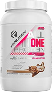 Forzagen Protein Powder for Women - Protein Shake With Collagen Powder for Women | High Protein Snacks And Collagen Supplement | Folic Acid | Hyaluronic Acid | Folic Acid | MCT oil | Collagen Peptides