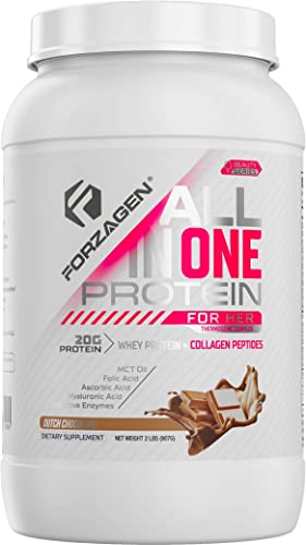 Forzagen Protein Powder for Women – Protein Shake With Collagen Powder for Women High Protein Snacks And Collagen Supplement Folic Acid Hyaluronic Acid Folic Acid MCT oil Collagen Peptides