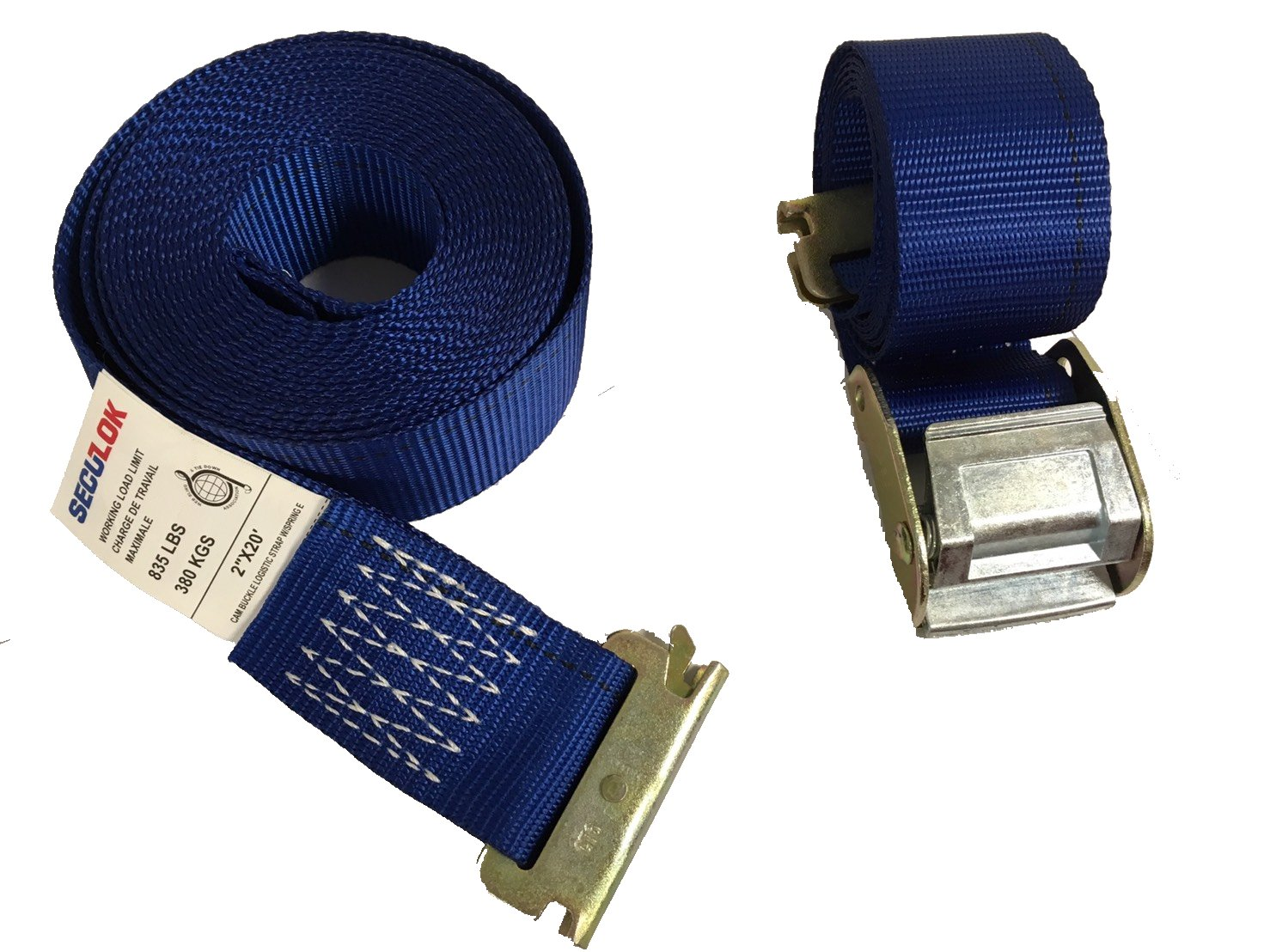 Seculok 2'' x 20' Logistic Cam Buckle Etrack Strap with E/A Series Spring Fitting
