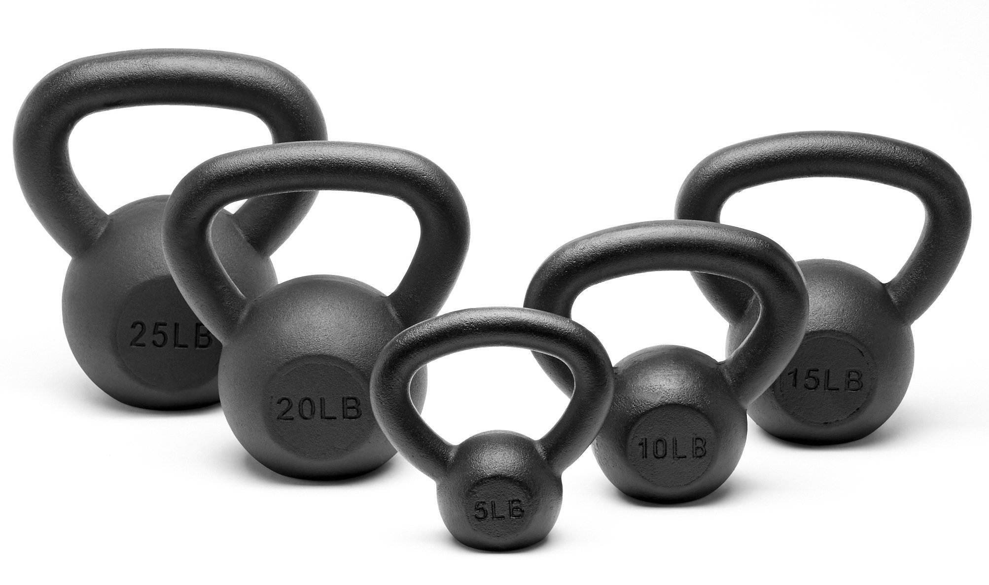 Unipack Powder Coated Solid Cast Iron Kettlebell Weights Set- (5+10+15+20+25 lbs)