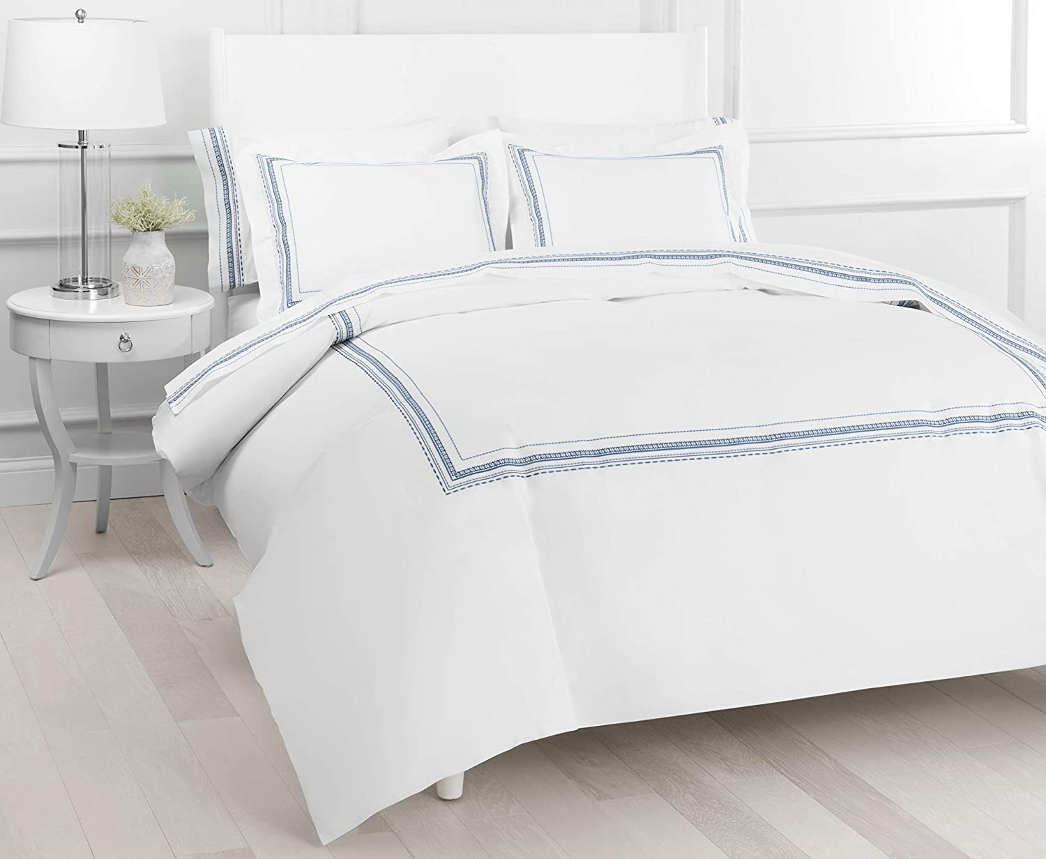 Melange Home Percale Cotton Vinsley Embroidery Duvet Set, Twin, Slate on White