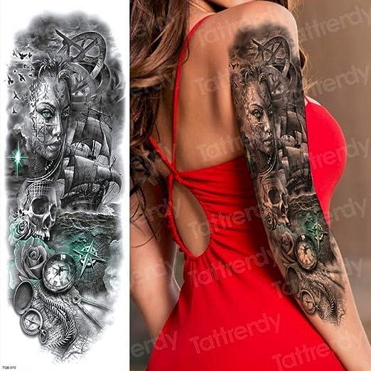 3 Piezas Tatuaje Completo Brazo Grande Tigre Calamar Mariposa ...