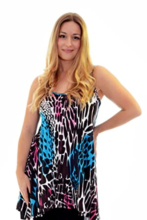 New Womens Top Ladies Camisole Tank Top Abstract Animal Print Plus Size Nouvelle