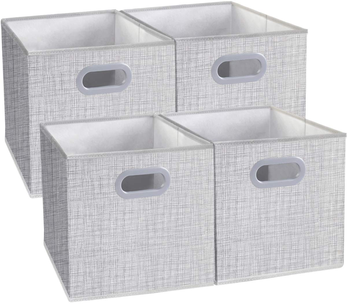 Homyfort Cloth Storage Bins, Foldable Cubes Box Basket Organizer Container Drawers with Dual Plastic Handles for Closet, Bedroom, Toys,Set of 4 White with Pattern 13''x13''x13''