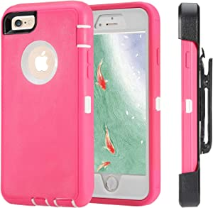 iPhone 6 Case, iPhone 6s [Heavy Duty Protection] [with Kickstand] 4 in 1 Rugged Shockproof Cover Holster Case with Built-in Screen Protector for Apple iPhone 6/6S (Pink/White)