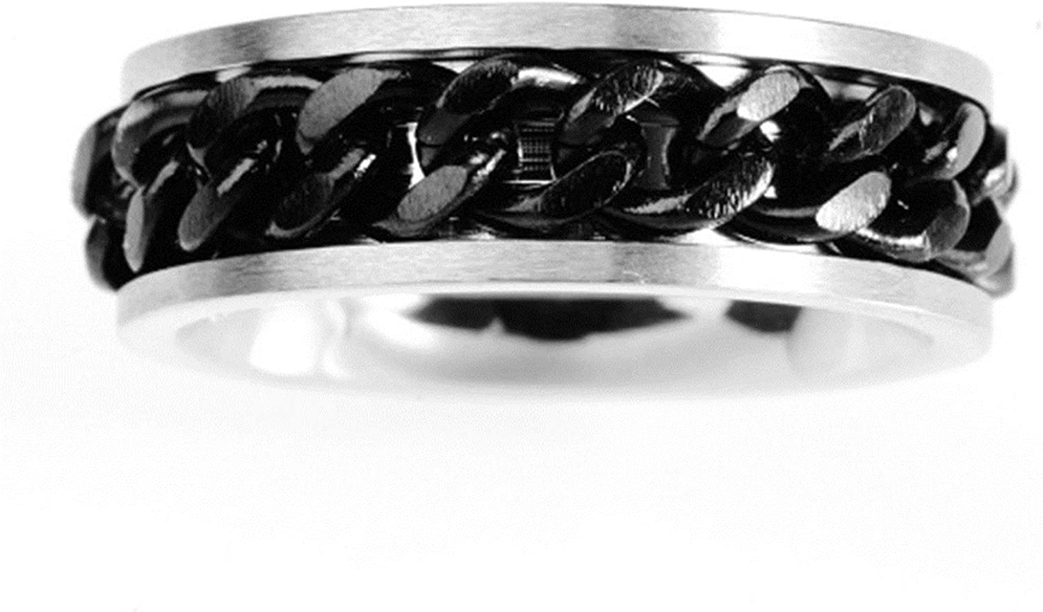MoAndy Women Stainless Steel Vintage Retro Men Black Silver Chain Engagement Promise Ring 6MM