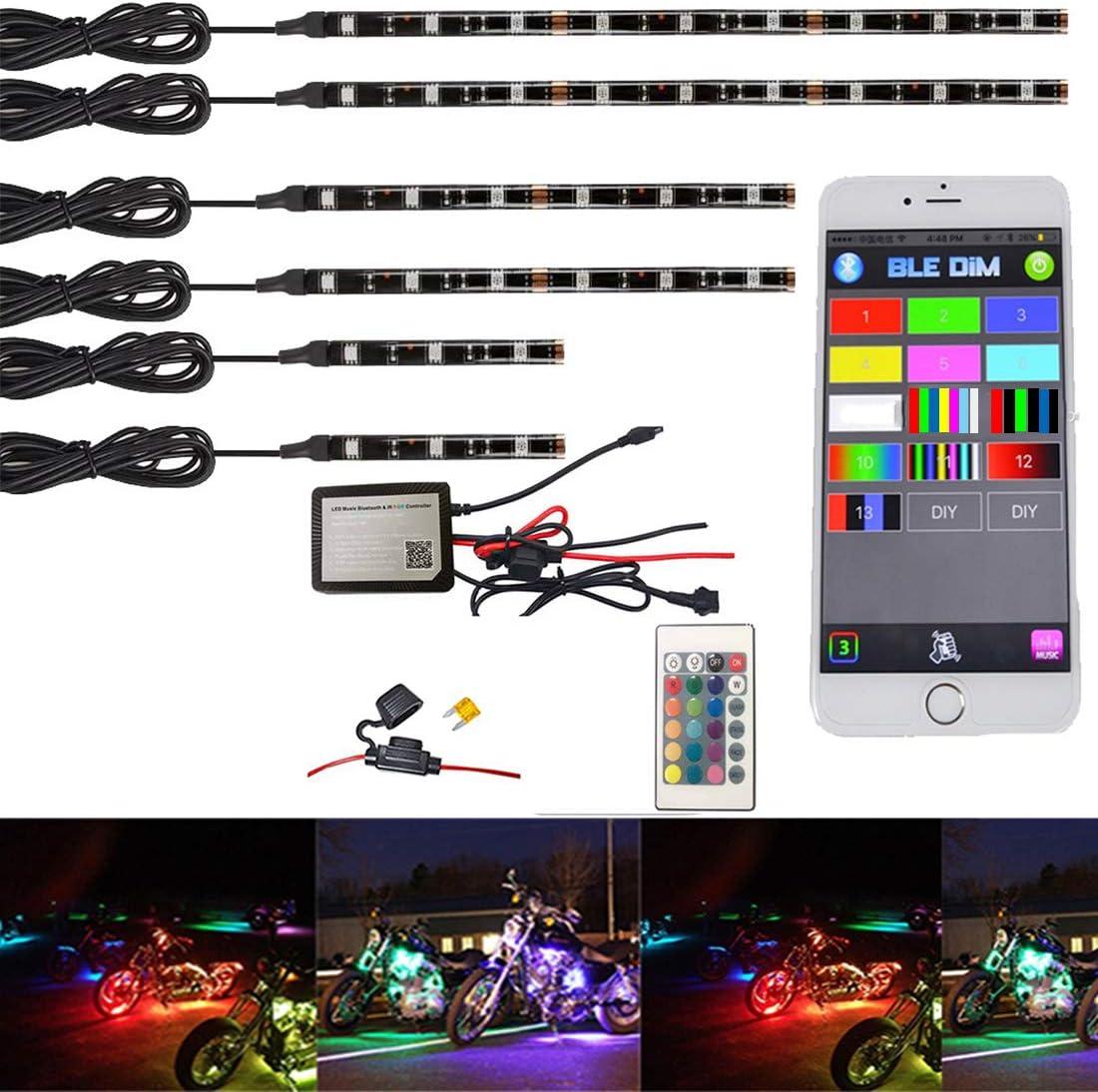 NBWDY 6Pcs Motorcycle LED Light Kit Strips with RGB 4-Key Wireless Remote Control for Harley Davidson Honda Kawasaki Suzuki
