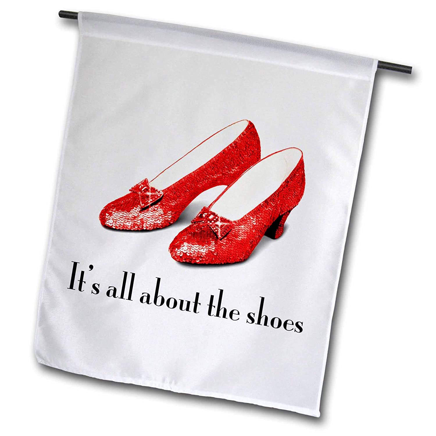3dRose fl_108339_1 Its All About The Shoes Ruby Slippers Wizard of Oz Garden Flag, 12 by 18-Inch