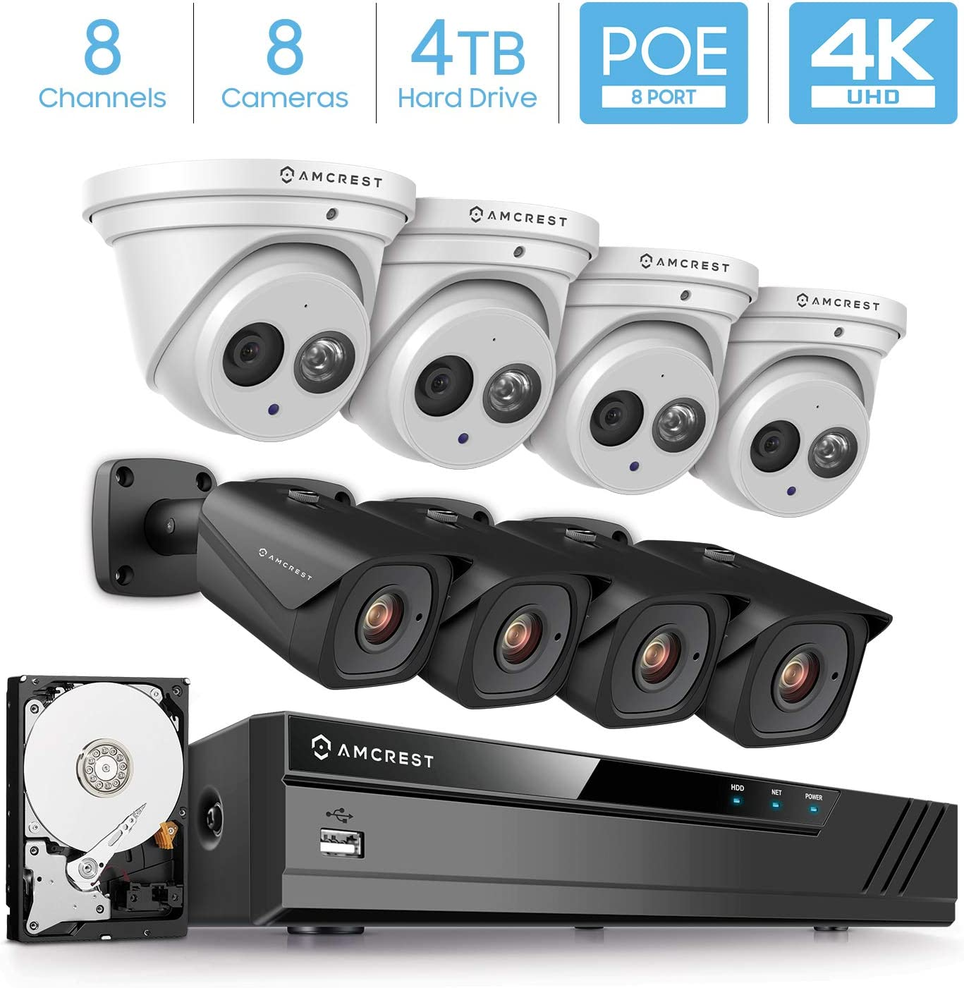 Amcrest 4K Security Camera System w 4K 8CH PoE NVR, 8 x 4K 8-Megapixel IP67 Weatherproof Metal Turret Dome Bullet POE IP Cameras, Pre-Installed 4TB HDD, NV4108E-IP8M-T2499EW4-IP8M-2496EB4-4TB