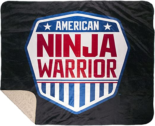 American Ninja Warrior Faux Mink Sherpa Throw Blanket, Black 60