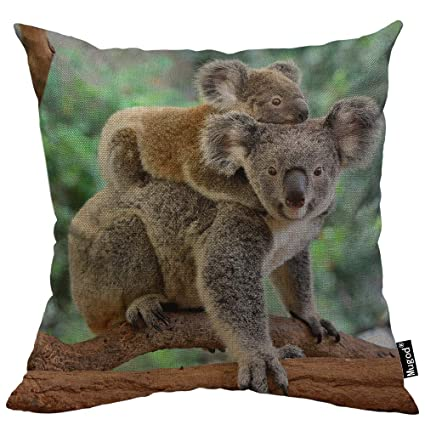 Peachy Mugod Koala Decorative Throw Pillow Cover Case Mother Koala With Little Koala On Her Back Eucalyptus Tree Cotton Linen Pillow Cases Square Standard Andrewgaddart Wooden Chair Designs For Living Room Andrewgaddartcom