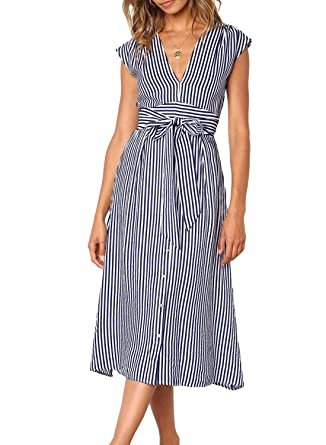 9b78673aa47 Lovezesent Classic Blue Striped Shirt Dress for Women Summer Cap Sleeve V  Neck Button Down A