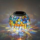 Lampade Solari, Lampade da tavolo in Cristallo a Ricarica Solare, Lampade a Led Cambio Colore (Rosso-Blu-Verde) e Modalità a Luce Singola Lampade Solari per Interni ed Esterni