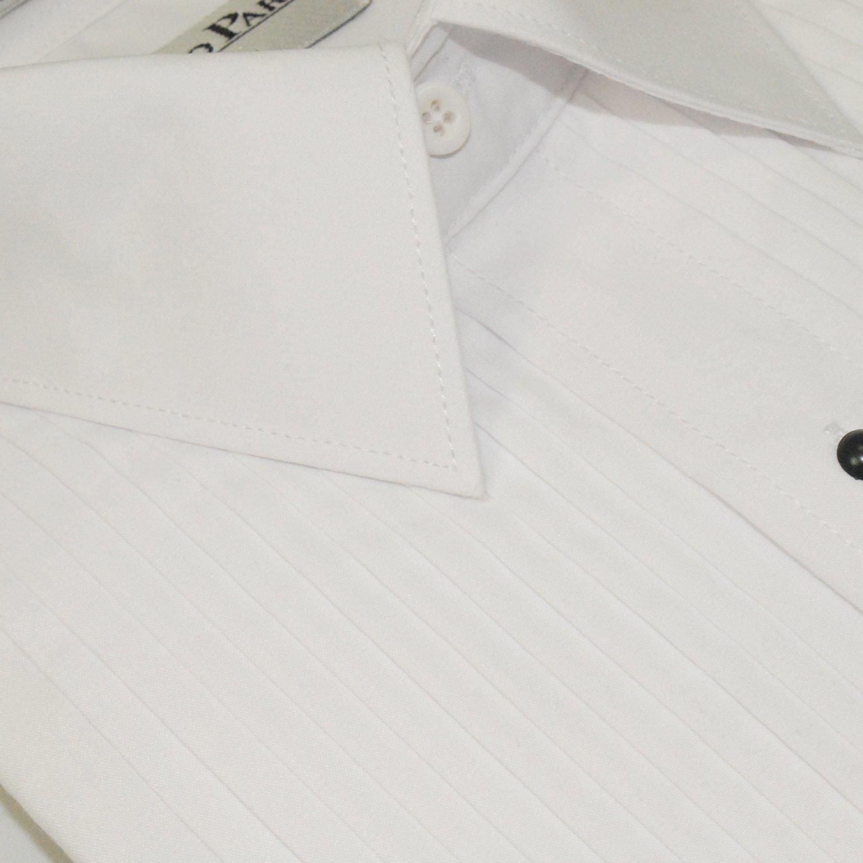 White Laydown Collar 1//4 Pleat Shirt Tuxedo Shirt