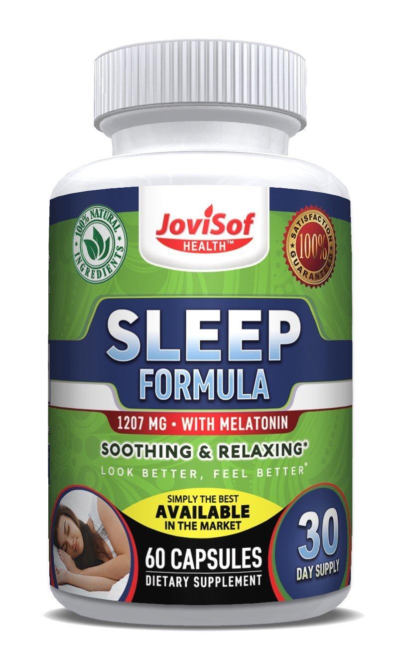 Jovisof Health™ #1 Natural Sleep Aid Pills with Melatonin, Chamomile, Magnesium, 5HTP, Ashwagandha, Natural Calm Valerian Root, Best Natural & Non Habit Forming Sleep Supplement | 60 Count