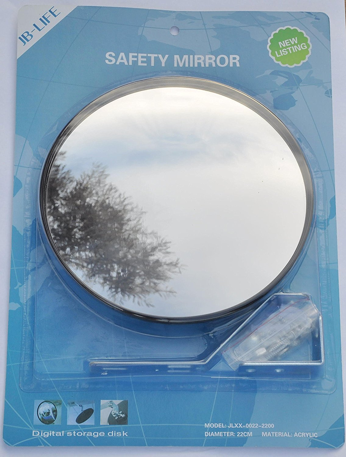 SNS SAFETY LTD JCM-22i Convex Acrylic Mirror, diameter 9'' (22cm), for Parking Safety and Shop Security with Adjustable Wall or Ceiling Fixing Bracket