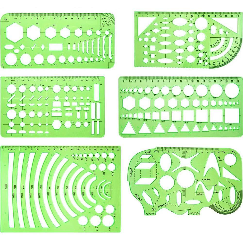 6 pezzi disegni templates misurazione template plastica geometrico righelli per ufficio e scuola, verde chiaro Dreameryoly