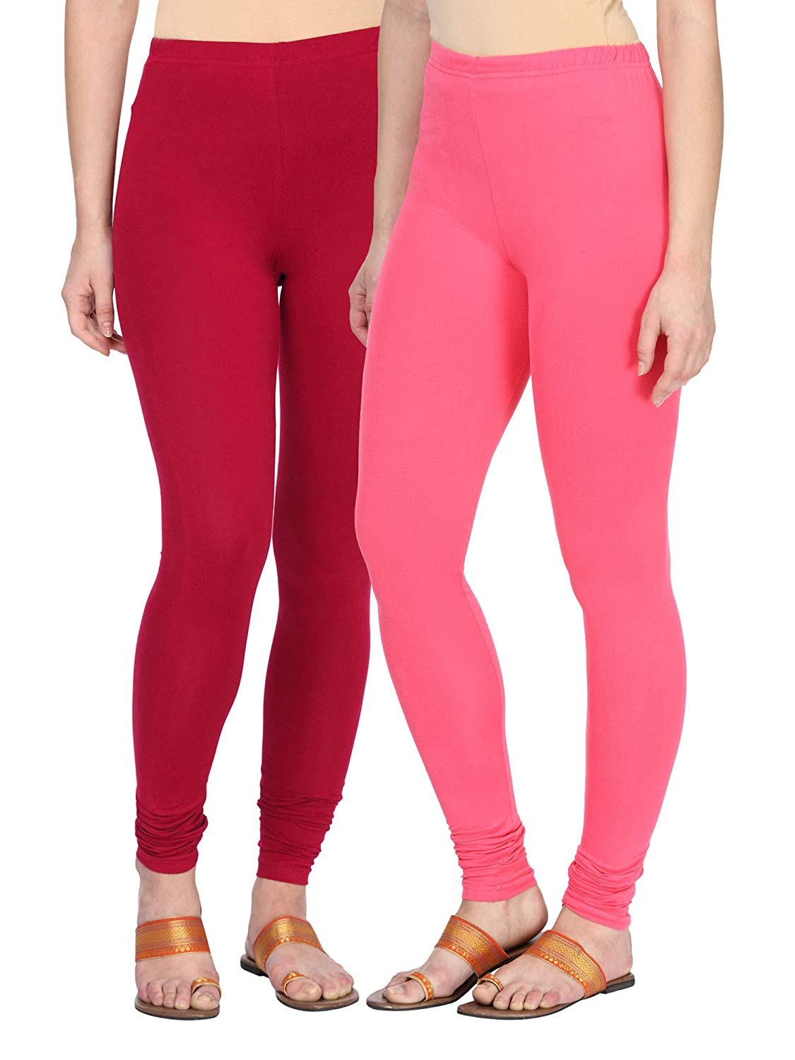 d92da2c144 Alena Cotton Lycra Womens Churidar Length Red/Baby Pink Color Leggings:  Amazon.in: Clothing & Accessories