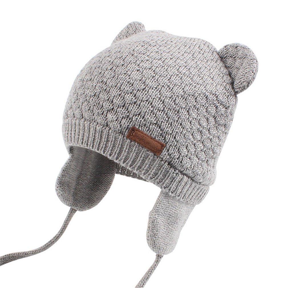 cb8c59b00 Amazon.com: Bear Ears Cute Baby Hat Soft Cotton Newborn Baby Beanie ...