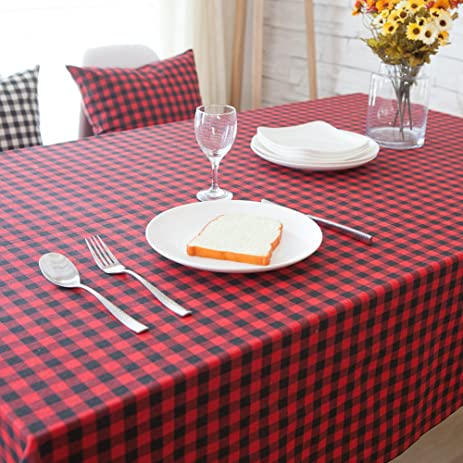 Amazon.com: Edxtech Vintage Plaid Tablecloth Cotton Linen Dining ...