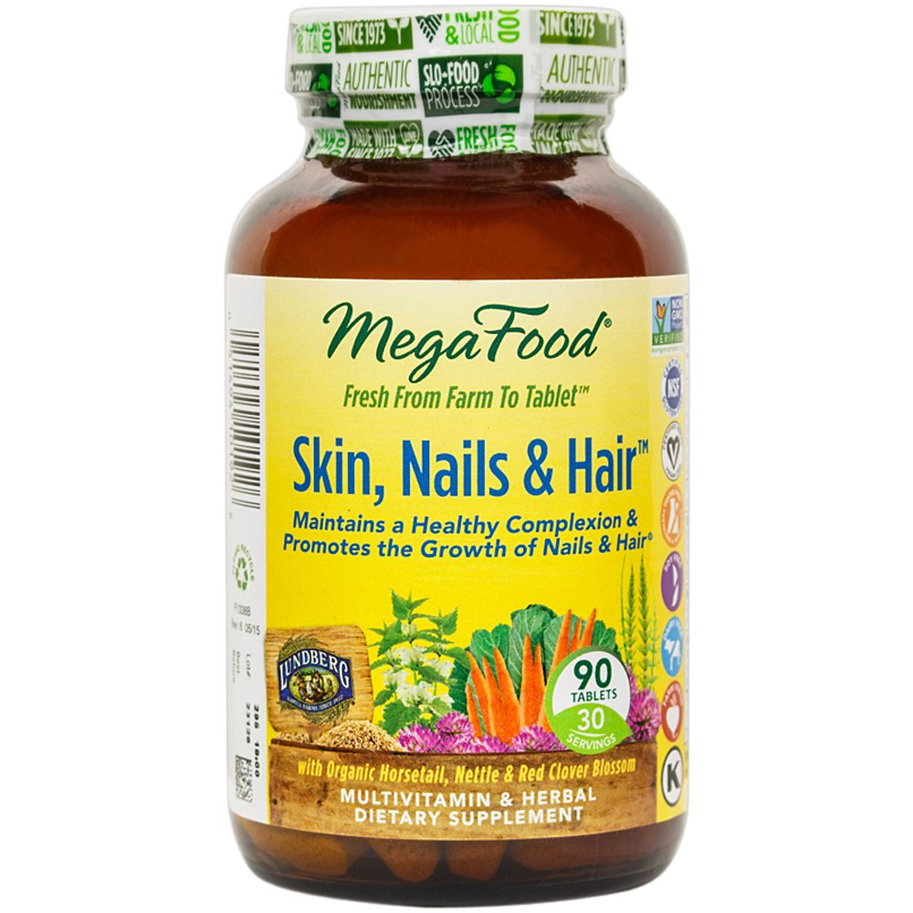 MegaFood - Skin, Nails & Hair, Promote Clear & Radiant Skin Plus Healthy Hair, 90 Tablets (FFP)