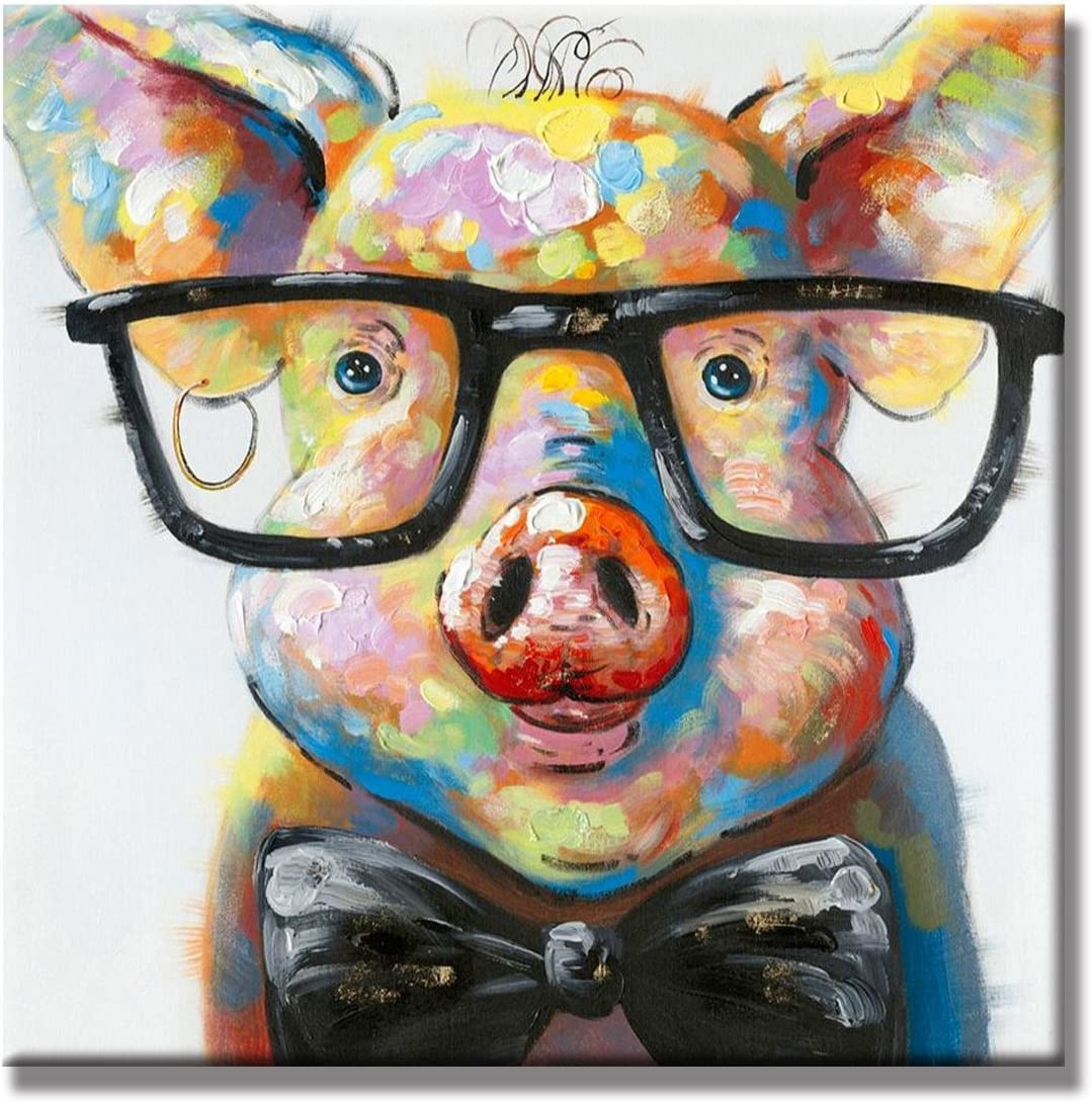 Beatifully Qearl 100 Hand Painted Oil Painting Animal Smart Pig with Stretched Frame Wall Art for Home Decor Ready to Hang 16x16Inch