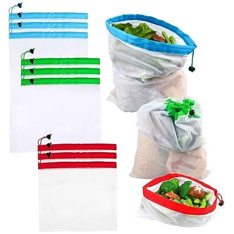 Amazon.com: 9 bolsas reutilizables Premium ecológicas de ...