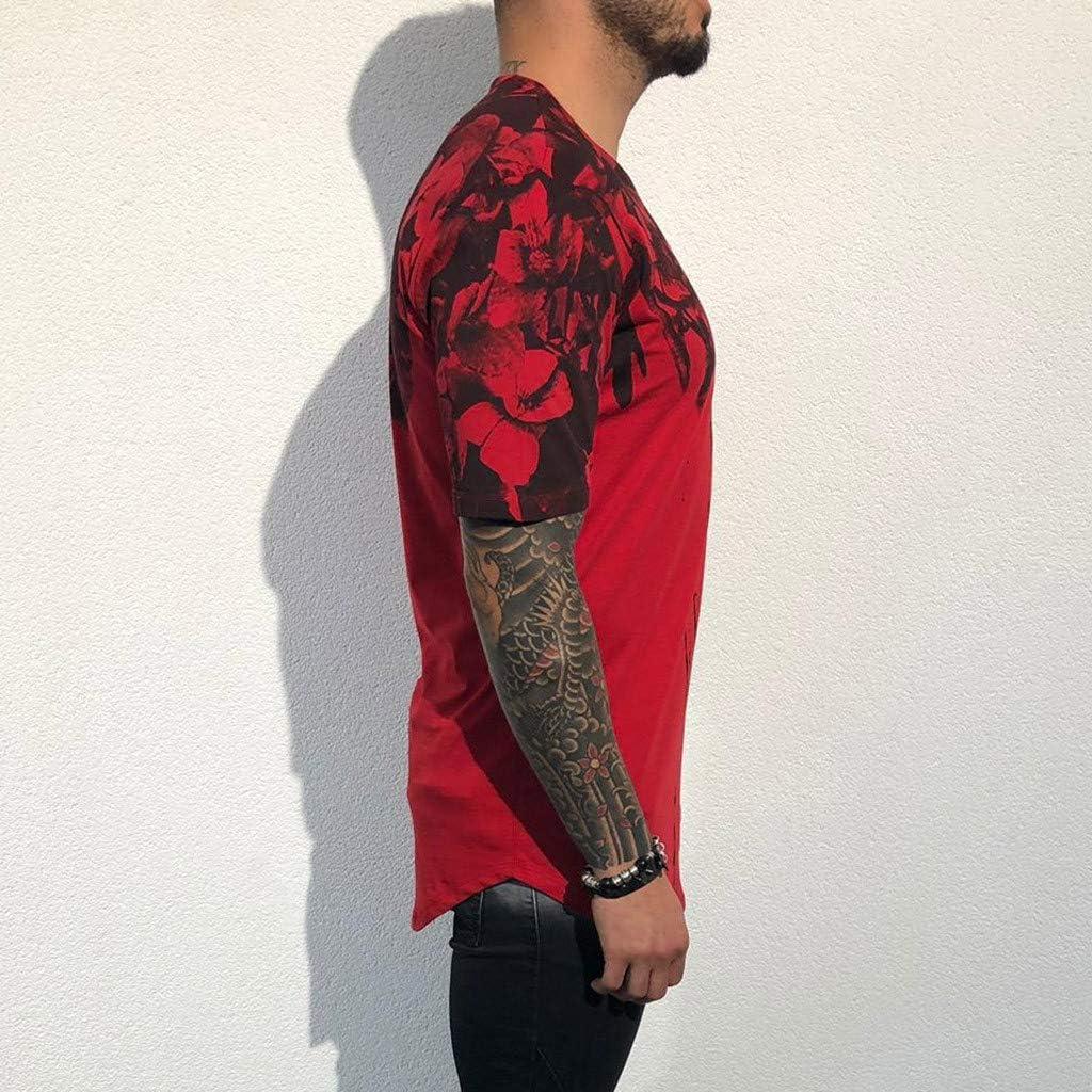 Mens Fashion Printing Fitness Casual T-Shirt Short Sleeve Shirt IHGTZS T-Shirts for Men