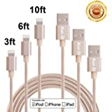 Lightning Cable, Xun Di 3Pack 3'/6'/10' FT Nylon Braided 8 Pin Syncing and Charging USB Cables Charger Cord for Apple iPhone 7/6/5SE, iPad Mini/Air, iPod Nano/Touch (Gold)