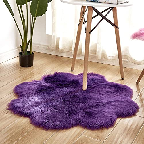 WISEHOME Faux Sheepskin Fur Shaggy Area Rug Carpet Floor Mat for Bedroom Living Room-Purple,2.9 Feet