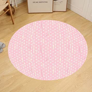 Amazon.com: Gzhihine Custom round floor mat Grunge Romantic 60s 50s ...