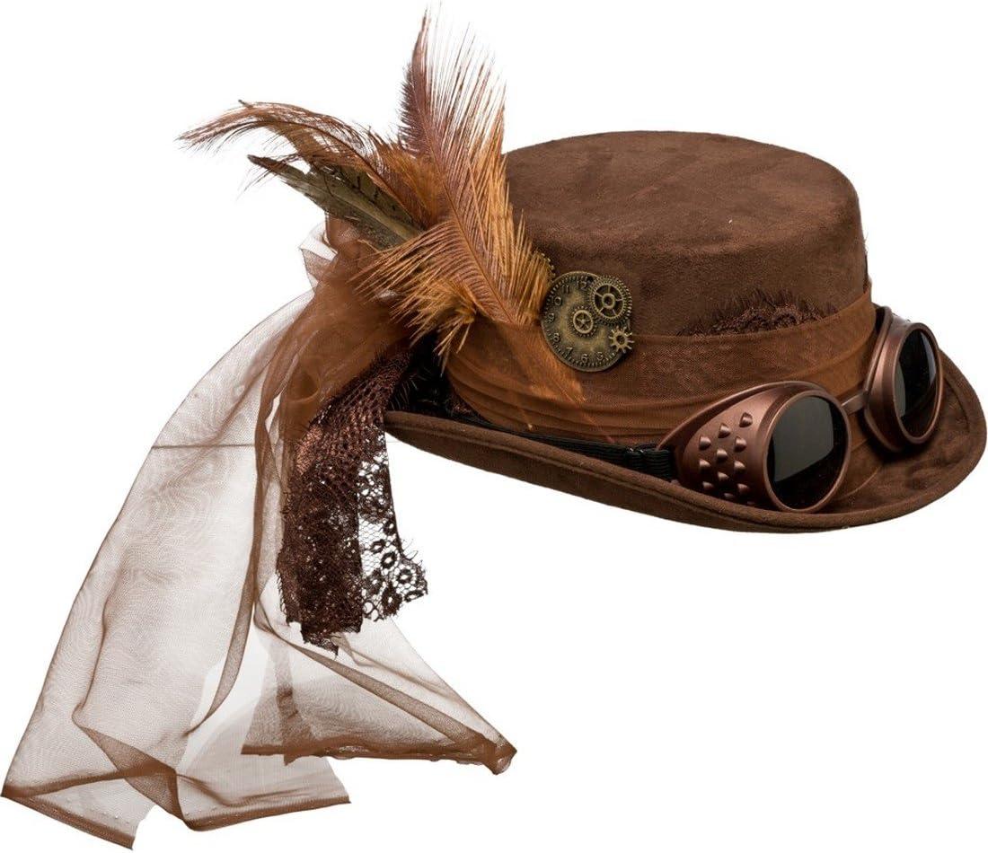 NET TOYS Sombrero Steampunk Sombrero de Copa gótico marrón Gorro Victoriano Complemento retrofuturista Look Retro Sombrero Accesorio Disfraz Punk