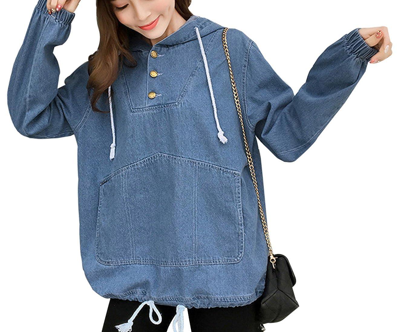 Yimoon Womens Loose Drawstring Hood Denim Jacket Half Button Pullover Hoodie with Kangroo Pocket