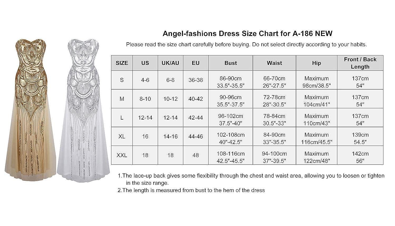 Angel-fashions Damen Lace Mesh Sweetheart Paillettes Senza Spalline Fino Banchetti Dress